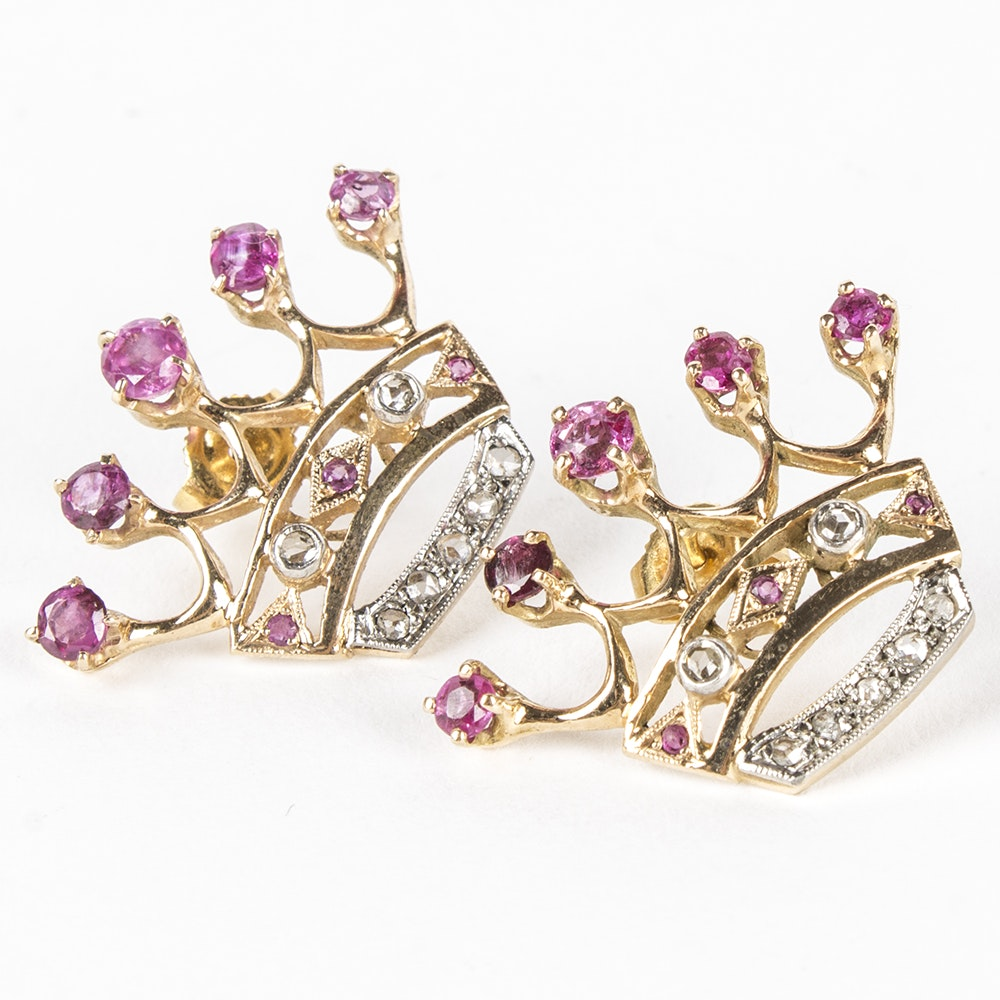 14K Yellow And White Gold Ruby and Diamond Crown Earrings