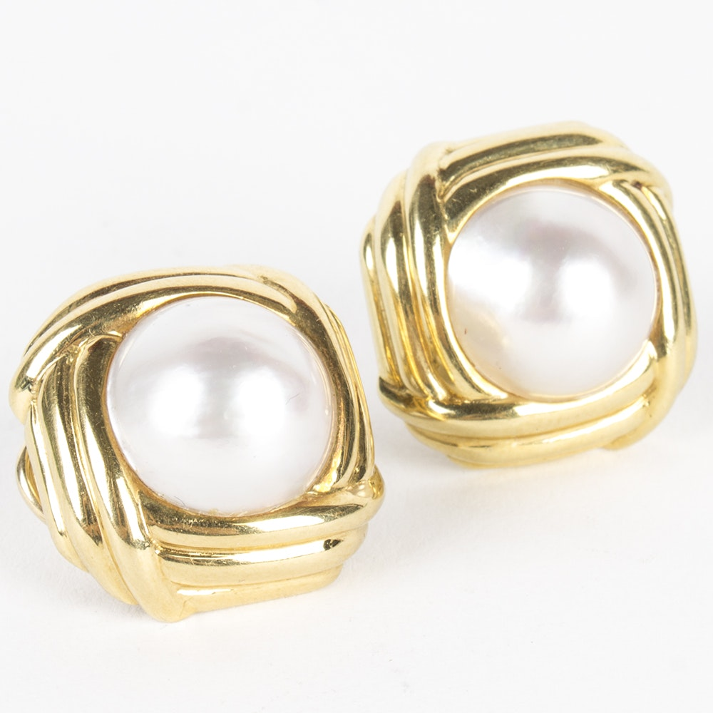Tiffany and Co. 18K Yellow Gold Mabé Pearl Earrings