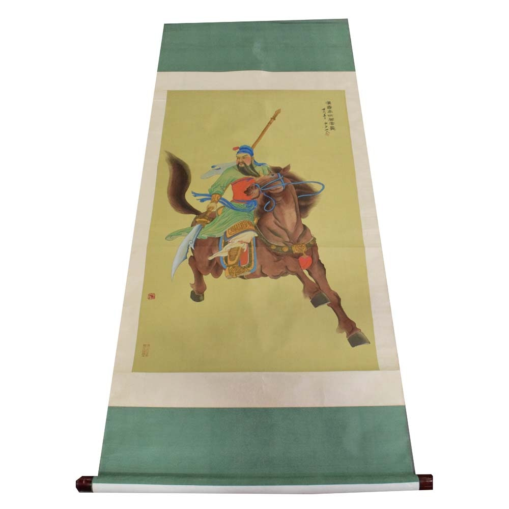 Chinese Gouache Painted Warrior on Silk Scroll