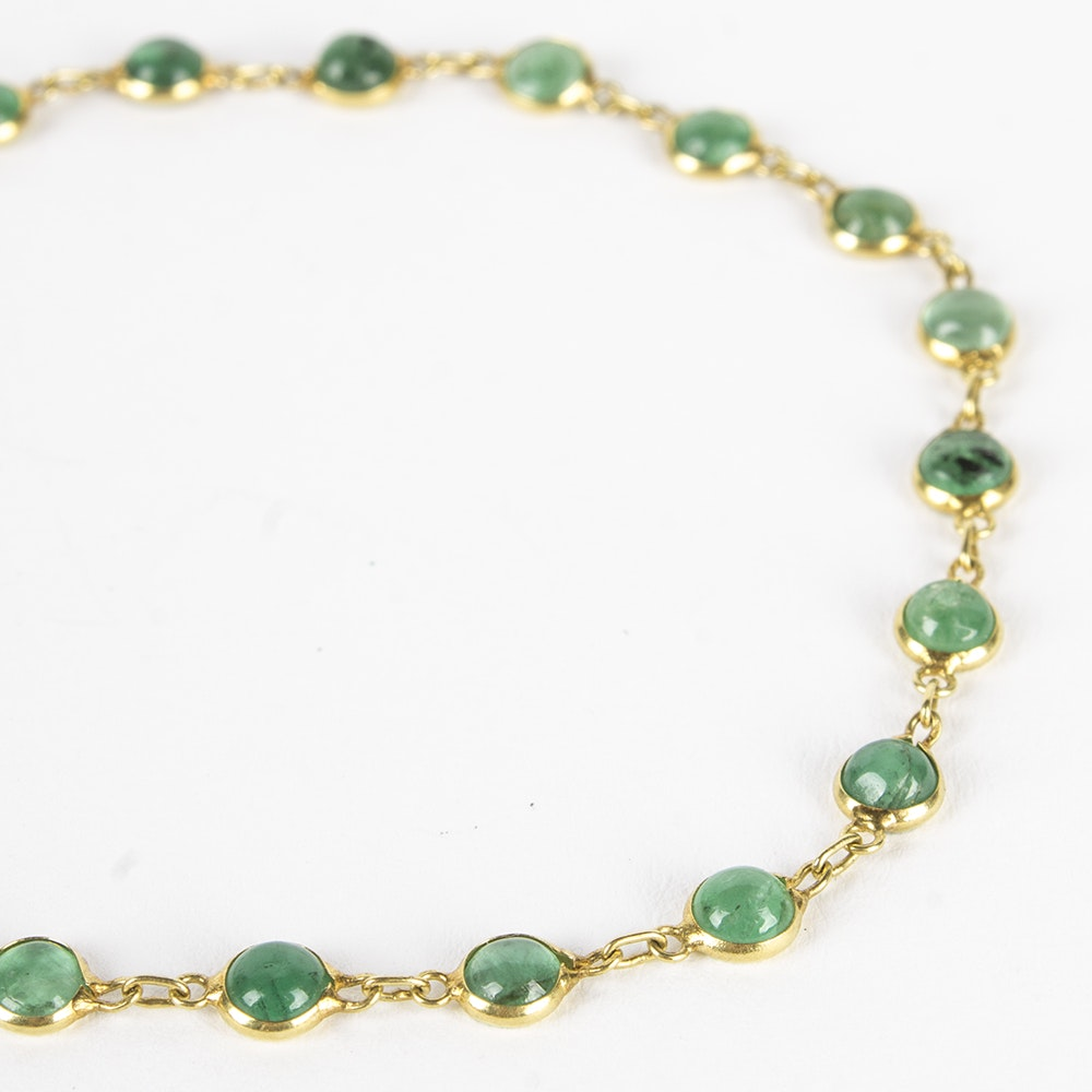 18K Yellow Gold Emerald Bracelet