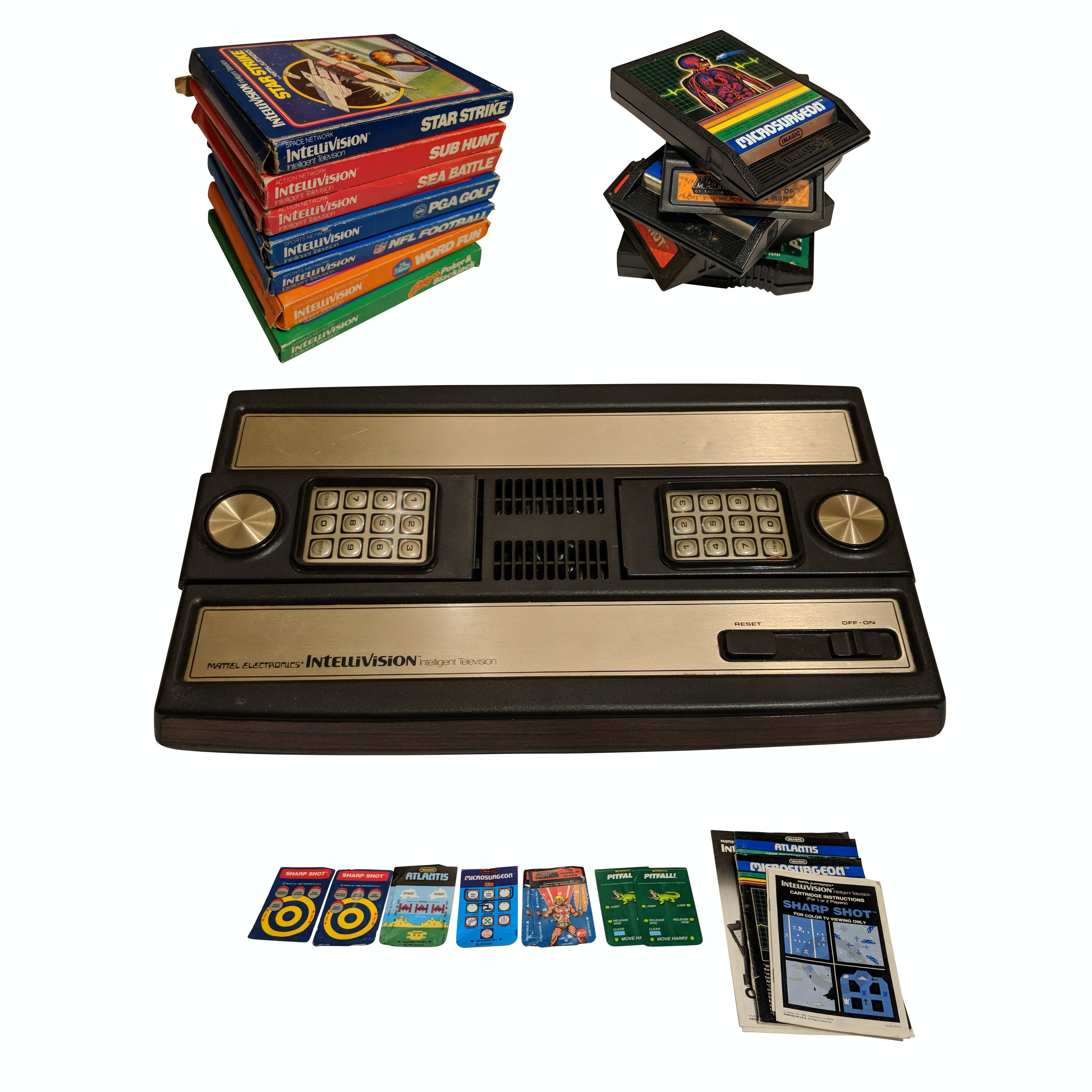 Vintage Mattel 1970s Intellivision Console and Games