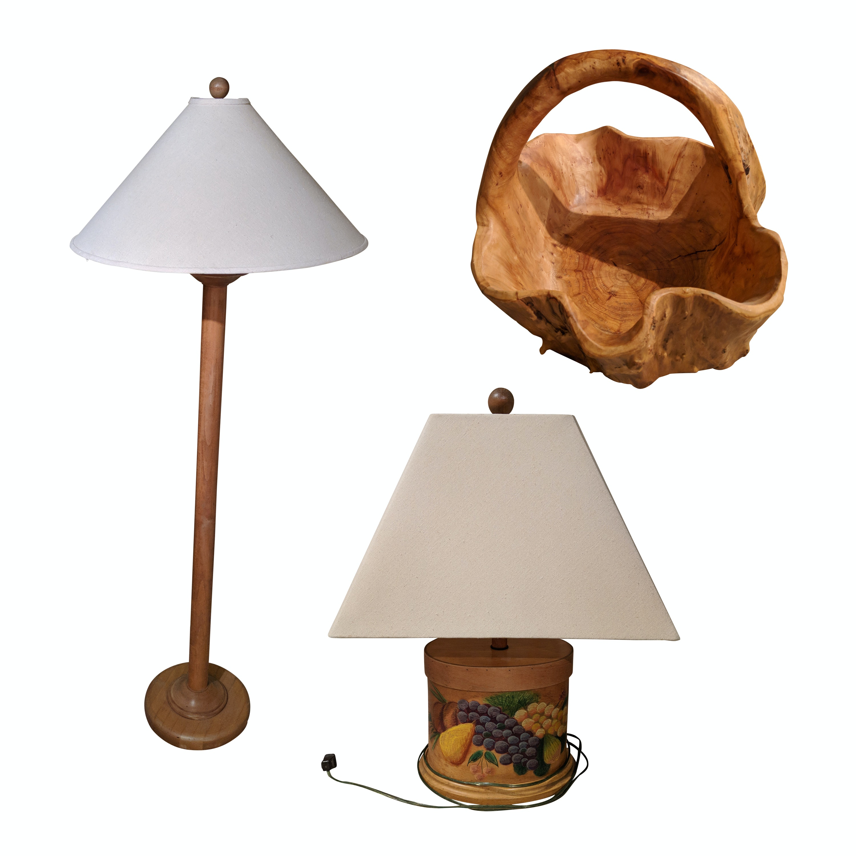Stenciled Table Lamp, Wooden Floor Lamp and Burl Wood Basket