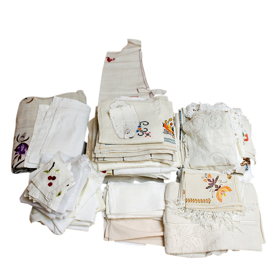 Generous Assortment of Vintage Embroidered and Damask Table Linens
