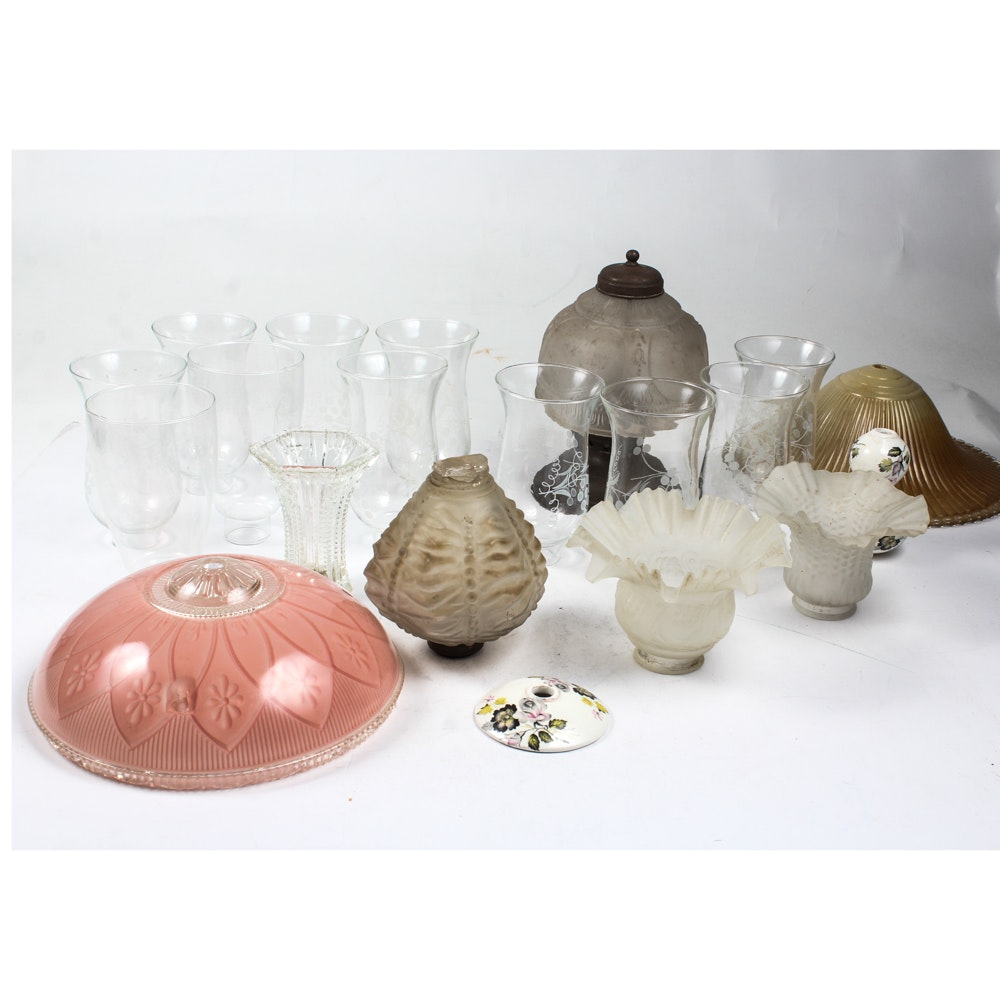 Collection of Lighting Fixtures, Globes, and Hurricanes