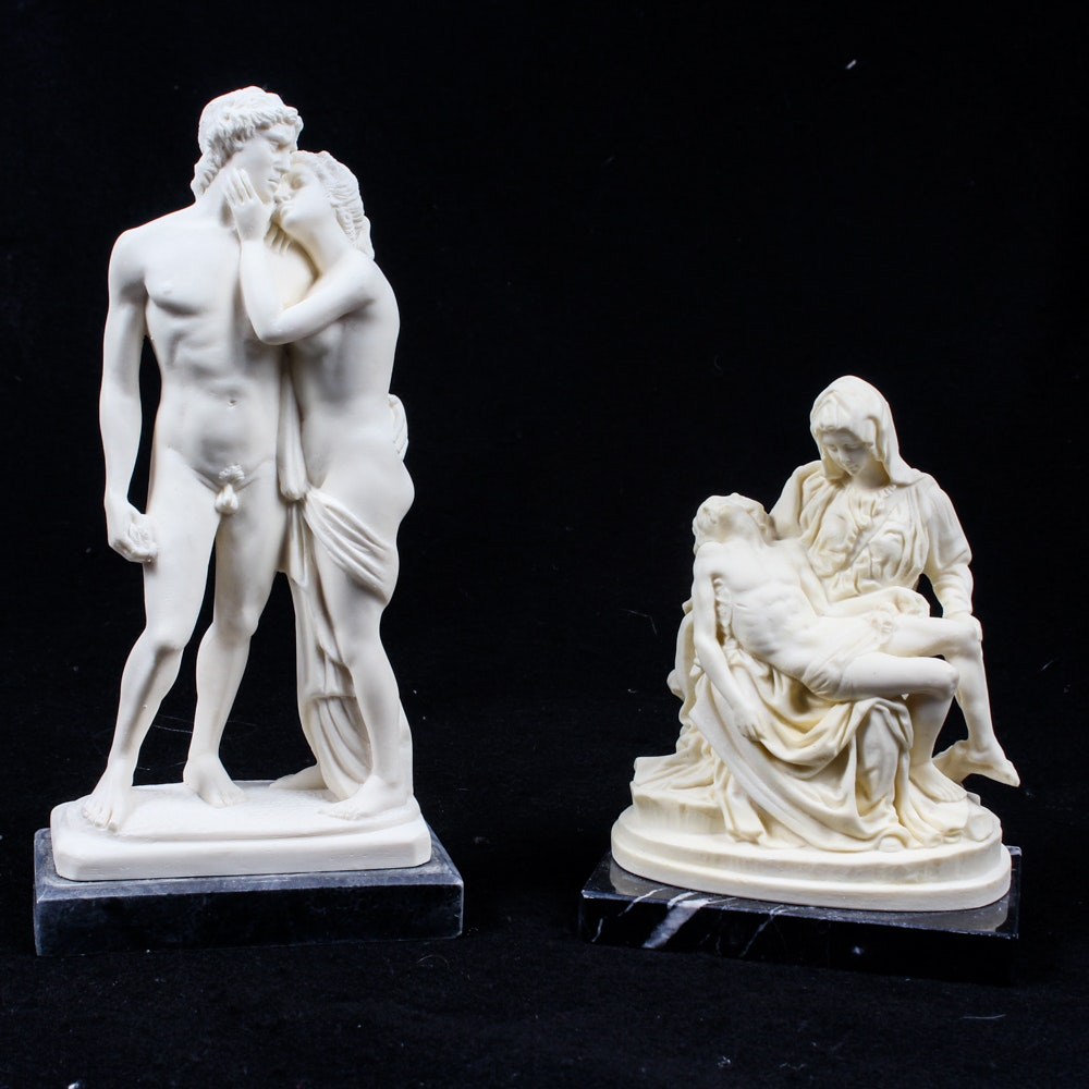 R. Leoni and A Santini Cast Resin Sculptures