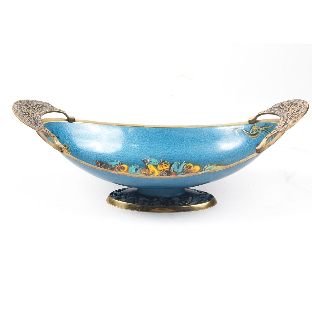 Israeli Enameled Brass Centerpiece Bowl