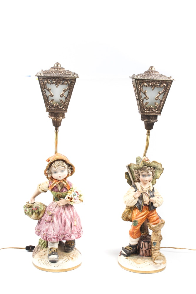Vintage Porcelain Figural Table Lamps