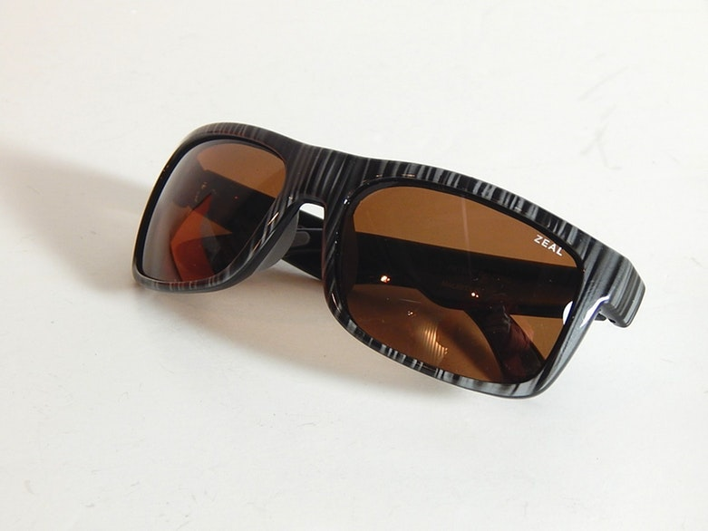 """Zeal Black and Grey Striped """"Essential"""" Polarized Sunglasses"""