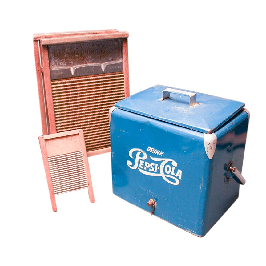 Vintage 1950s Pepsi Cooler and Washboards