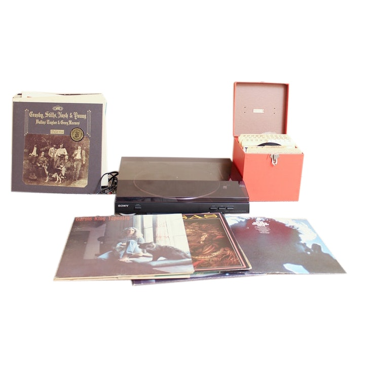 Sony Turntable and Rock LP Albums