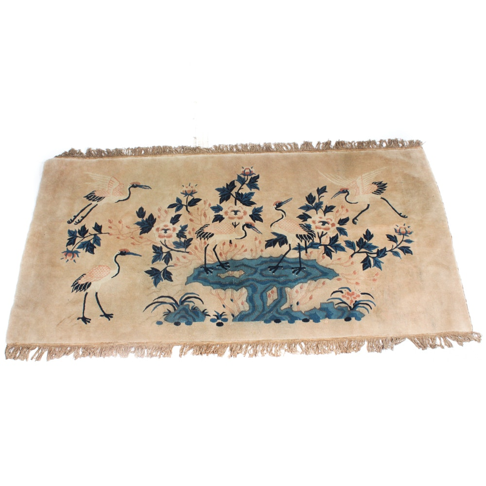 3' x 6' Antique Hand-Knotted Chinese Peking Pictorial Rug