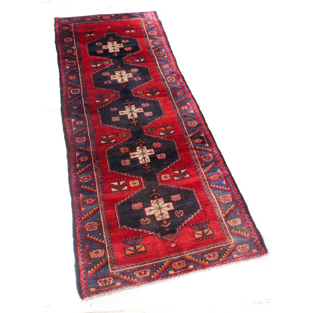 3' x 9' Vintage Hand-Knotted Persian Karaja Heriz Runner
