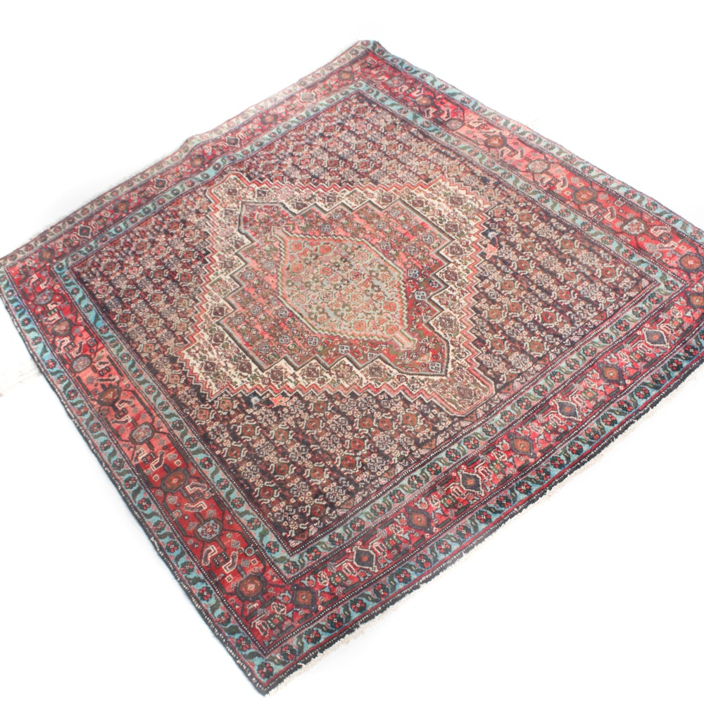 4' x 5' Vintage Hand-Knotted Persian Senneh Bijar Rug
