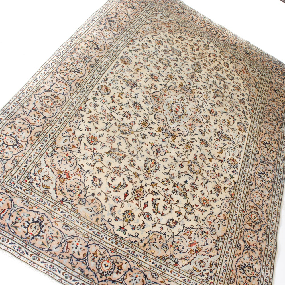 6' x 10' Vintage Hand-Knotted Persian Kashan Rug