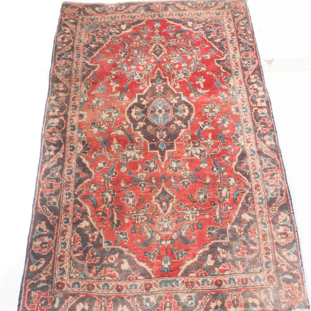 3' x 5' Vintage Hand-Knotted Persian Kashan Rug