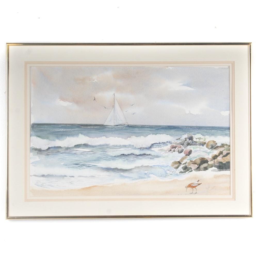 Original Seaside Watercolor Painting