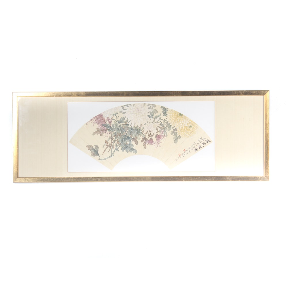 Chinese Gouache on Silk Hand Painted Fan