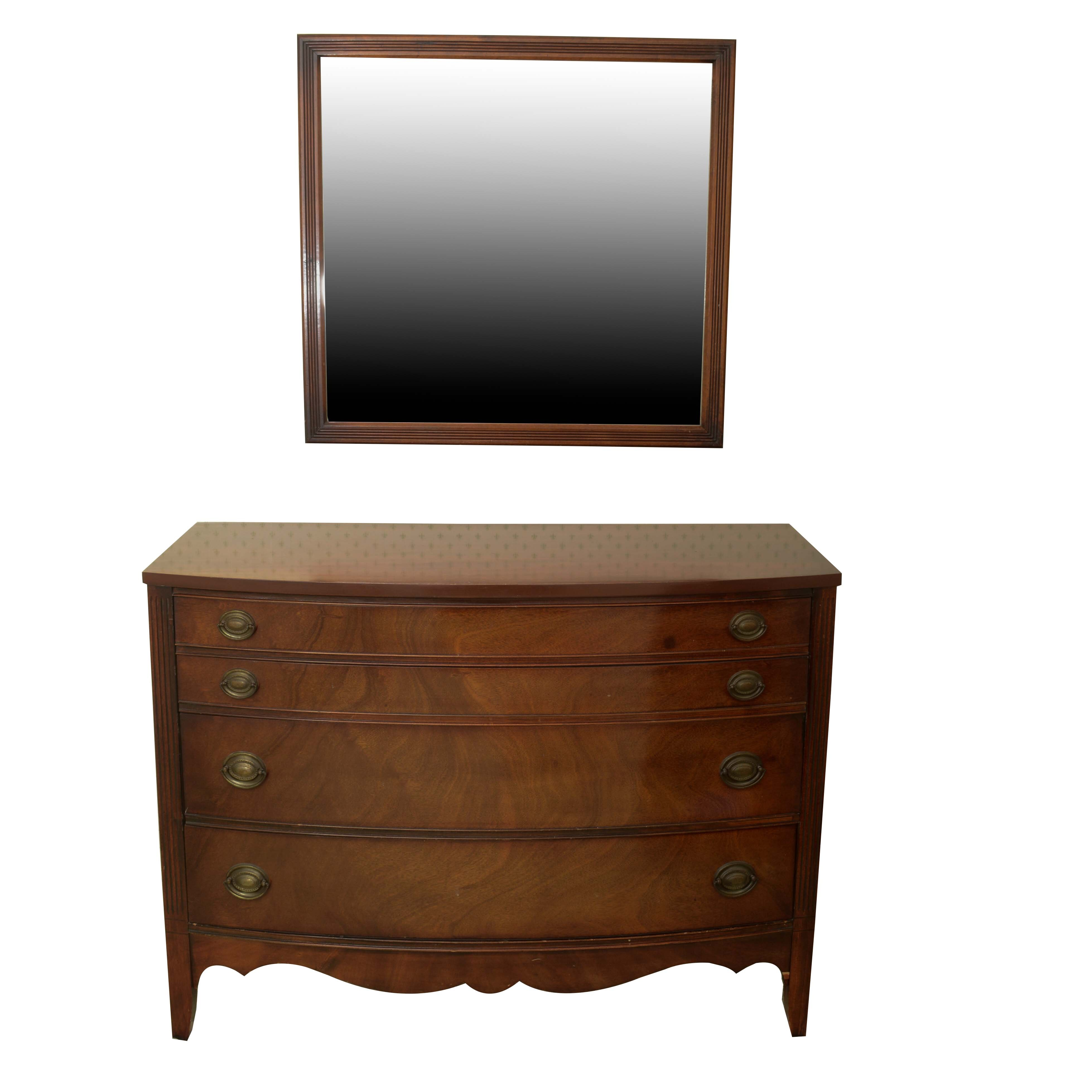 Vintage Hepplewhite Style Chest of Drawers with Mirror by Dixie