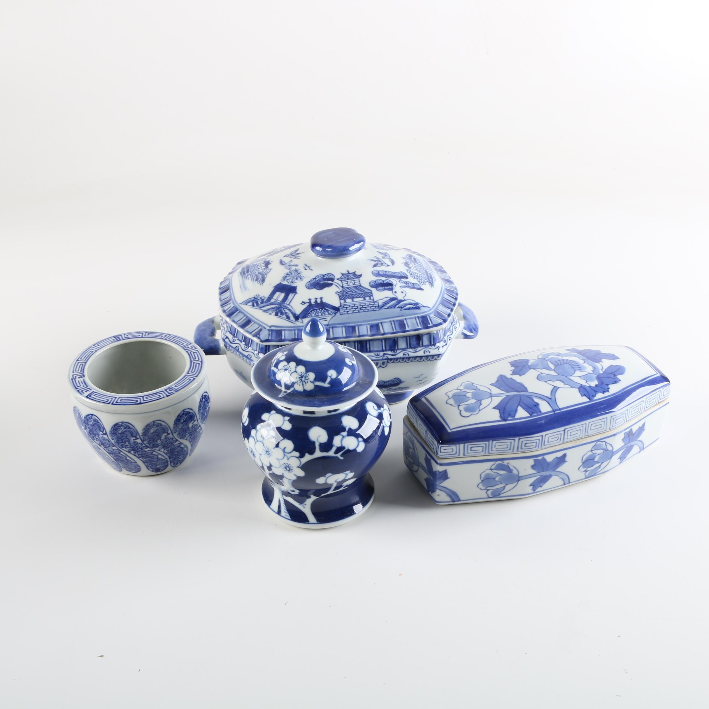 Chinese Blue and White Porcelain Lidded Containers and Planter