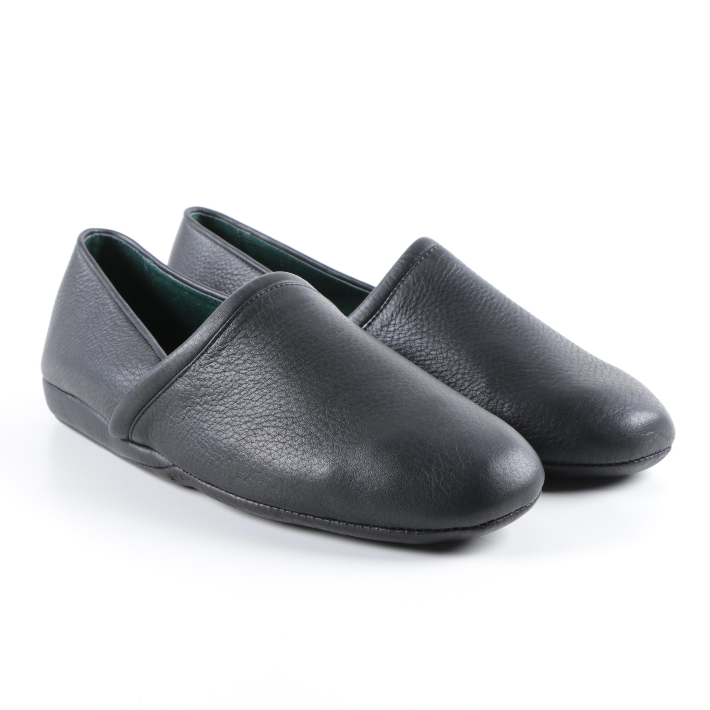 Men's L.B. Evans Black Leather Slippers