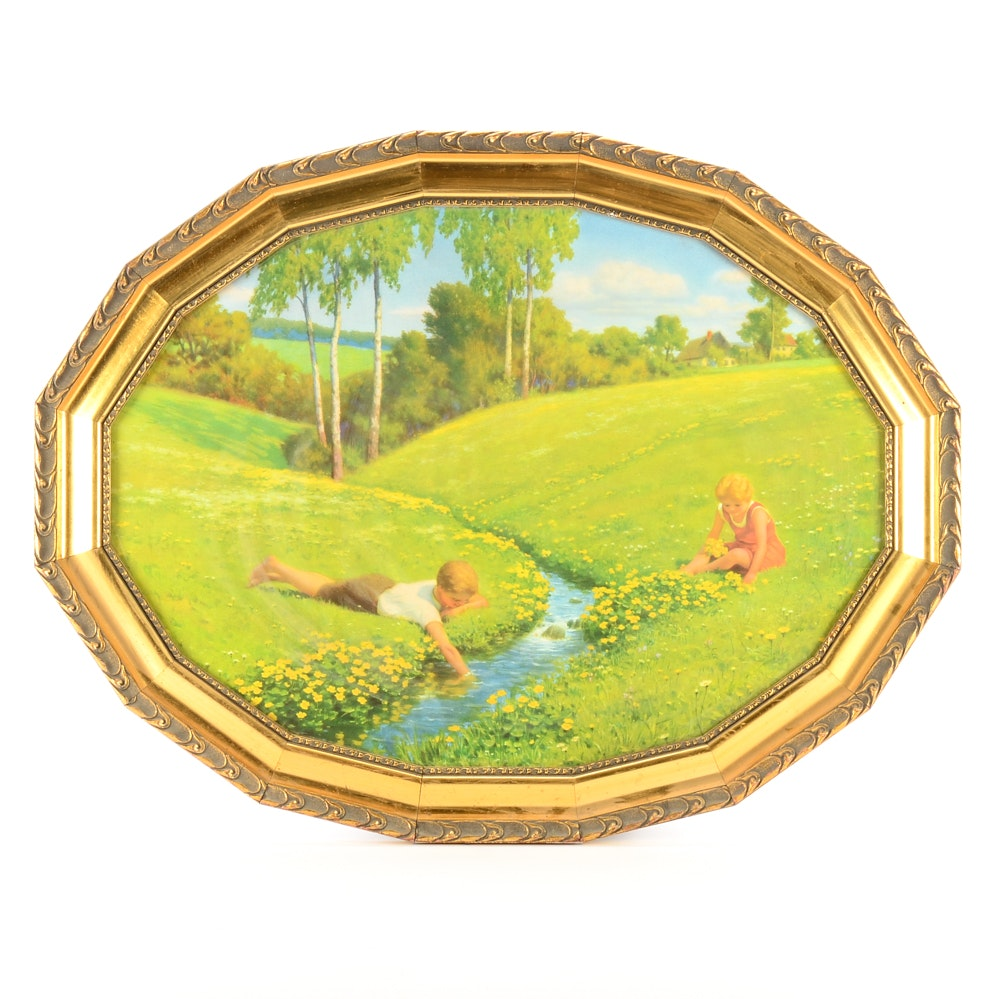 Vintage Chromolithograph of Children in Meadow