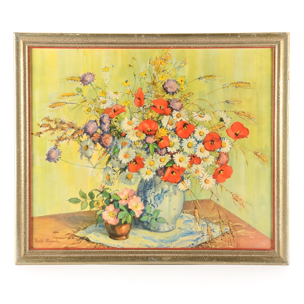 Lithograph Print after Rolf Regele Floral Painting
