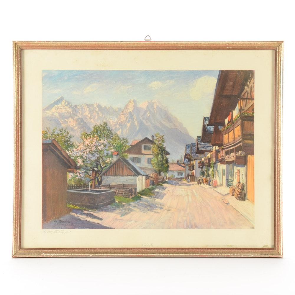 "Vintage Offset Lithograph Print after Heinz Theis ""Garmisch"""