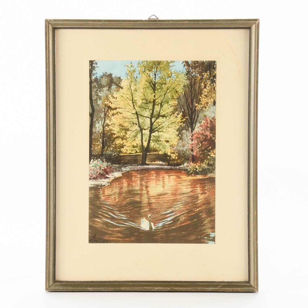 Signed Vintage Watercolor Painting of Landscape with Swan