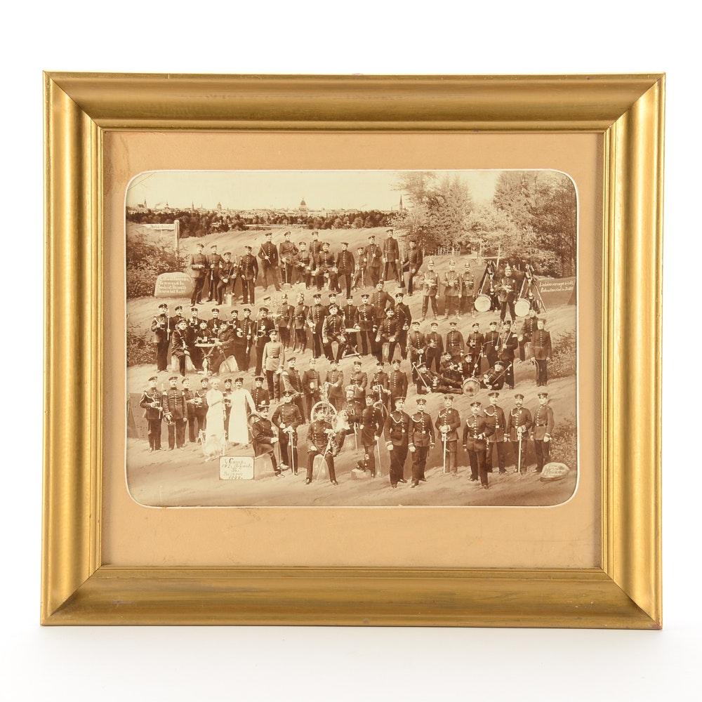 Antique W. Hogel and L. Lindenau Photographic Print of Military Company