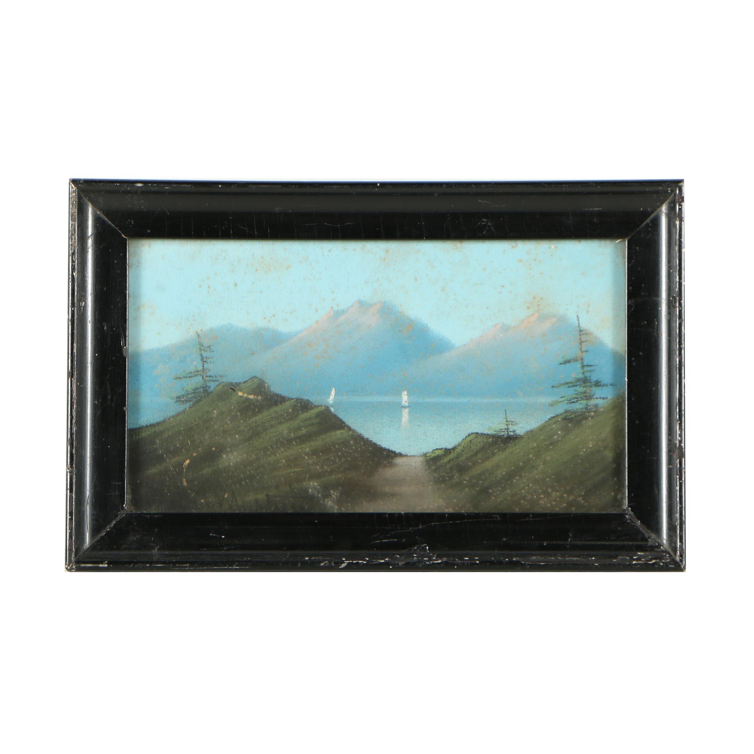 Mid Century Pastel Drawing of Mountain Lake Landscape