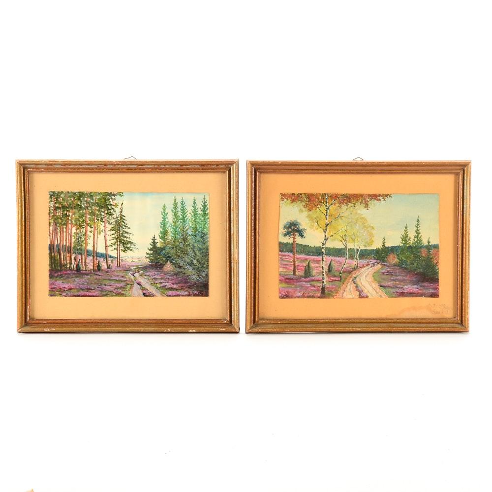 Two Original Watercolor Landscape Paintings