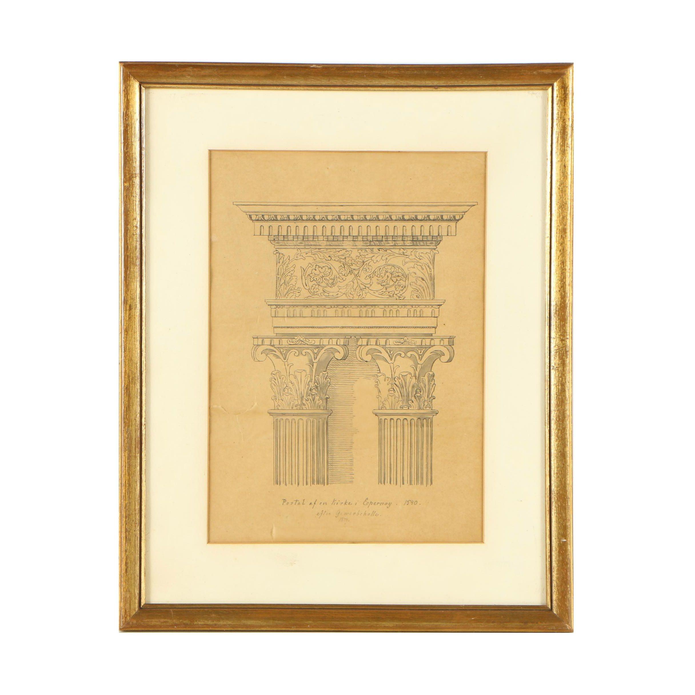 """Antique Ink Architectural Drawing """"Portal af en Kirke i Epernay. 1540."""""""