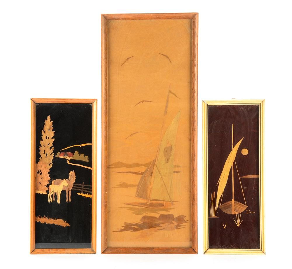 Three Framed Wood Veneer Wall-Hangings