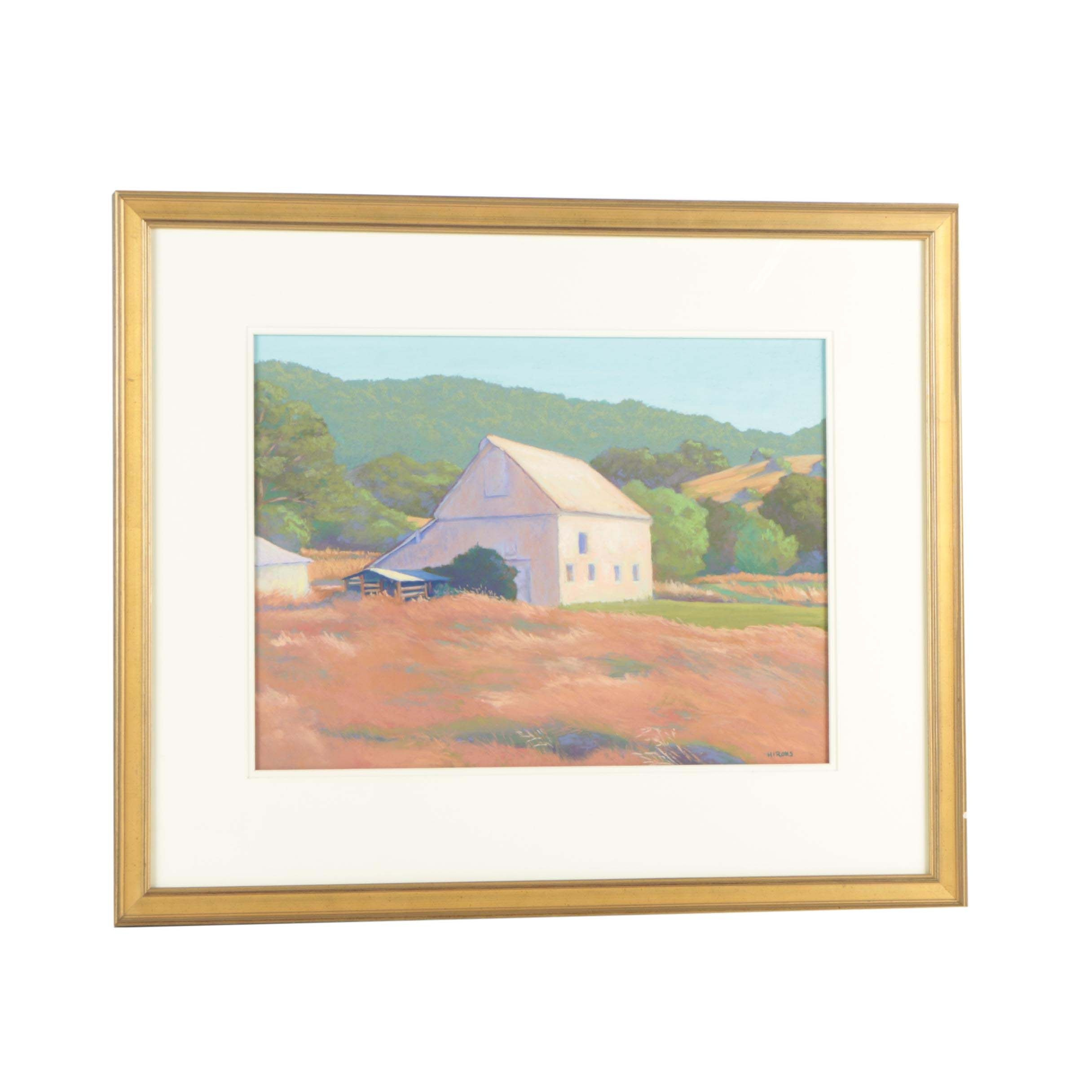 """Jean Hirons Pastel Drawing """"Willamette County, Barn"""""""