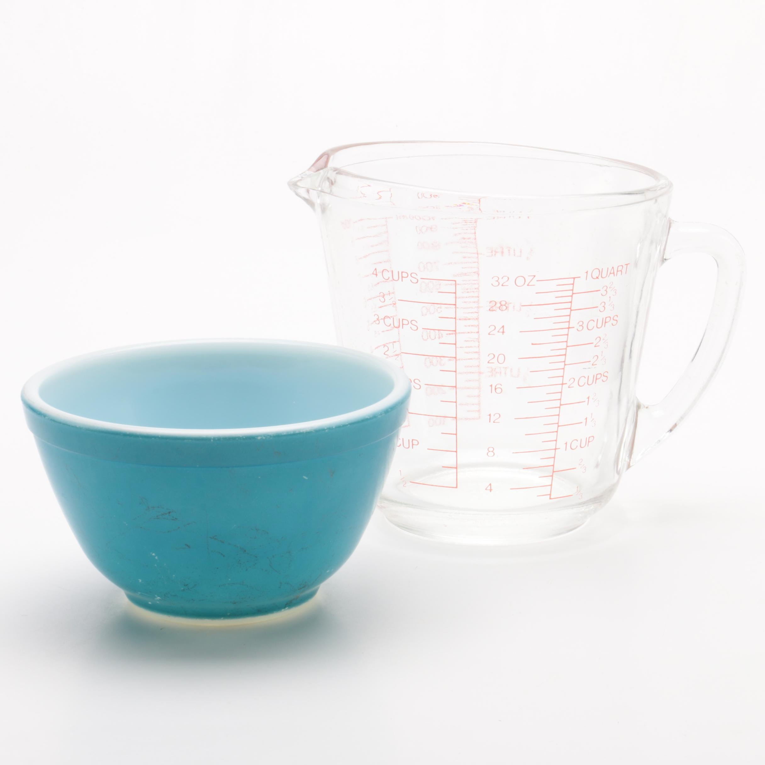 """Anchor Hocking Glass Measuring Cup and Pyrex """"Primary Colors"""" Mixing Bowl"""