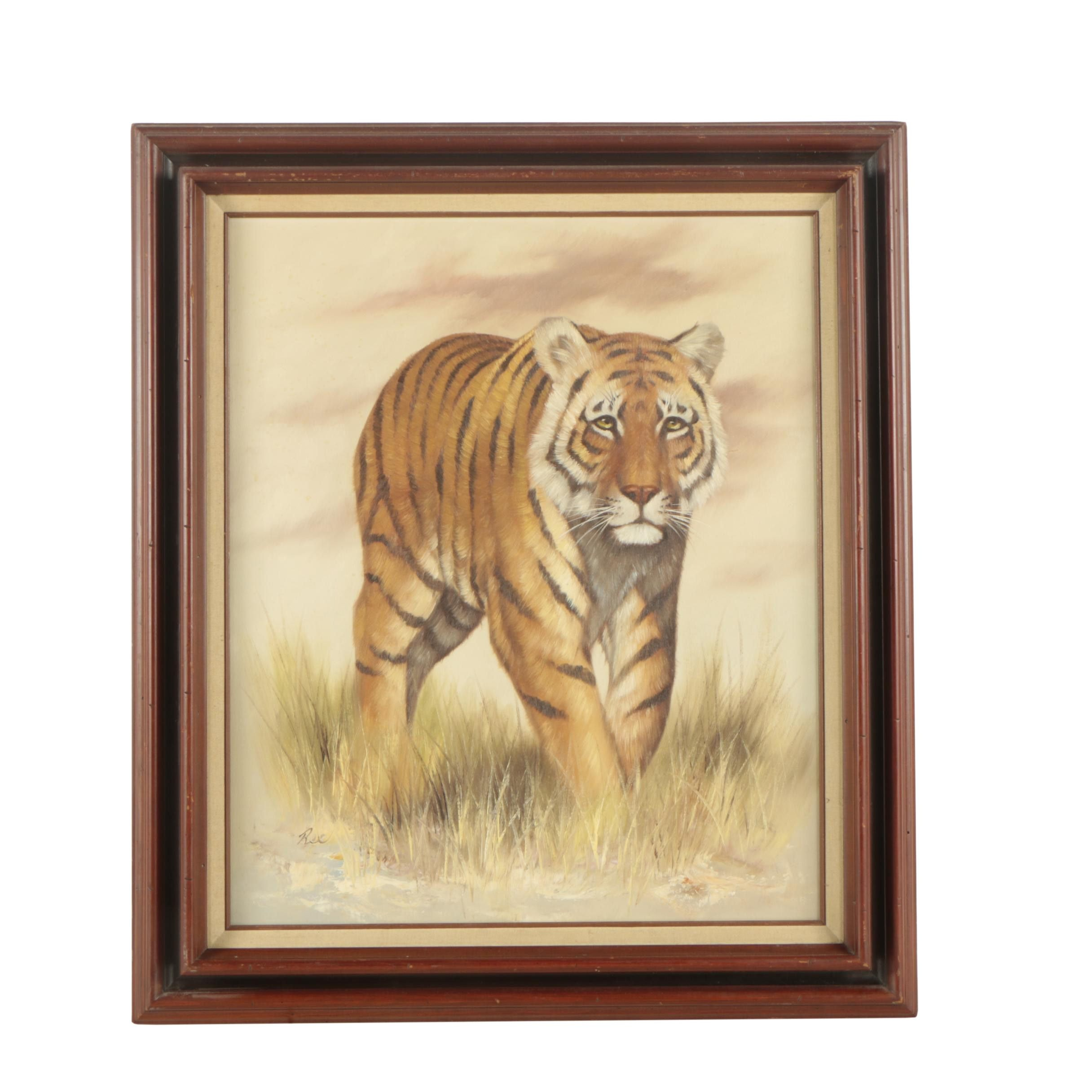 Vintage Oil Painting on Canvas of a Bengal Tiger