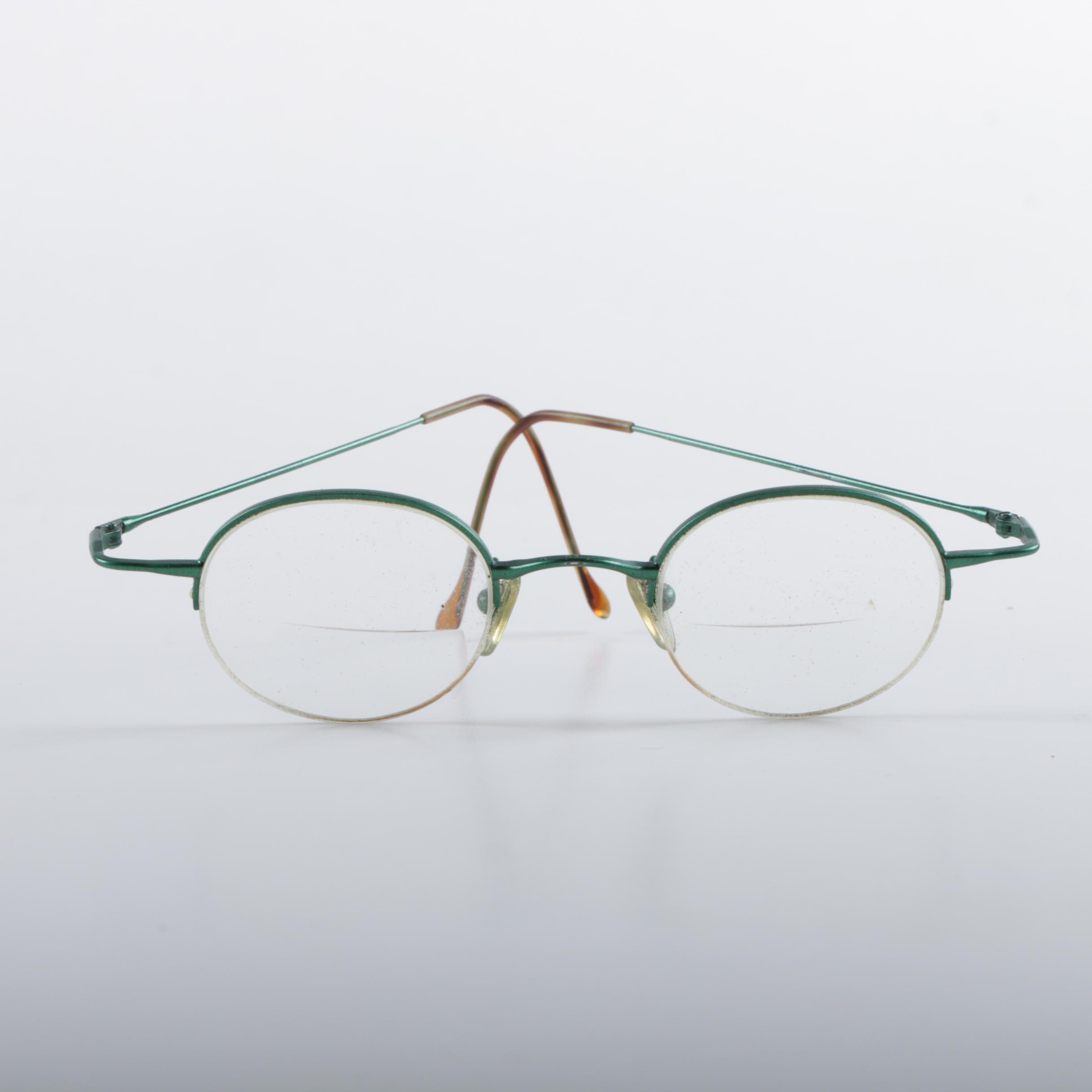 Vintage Metal Frame Round Bifocals in Woven Case