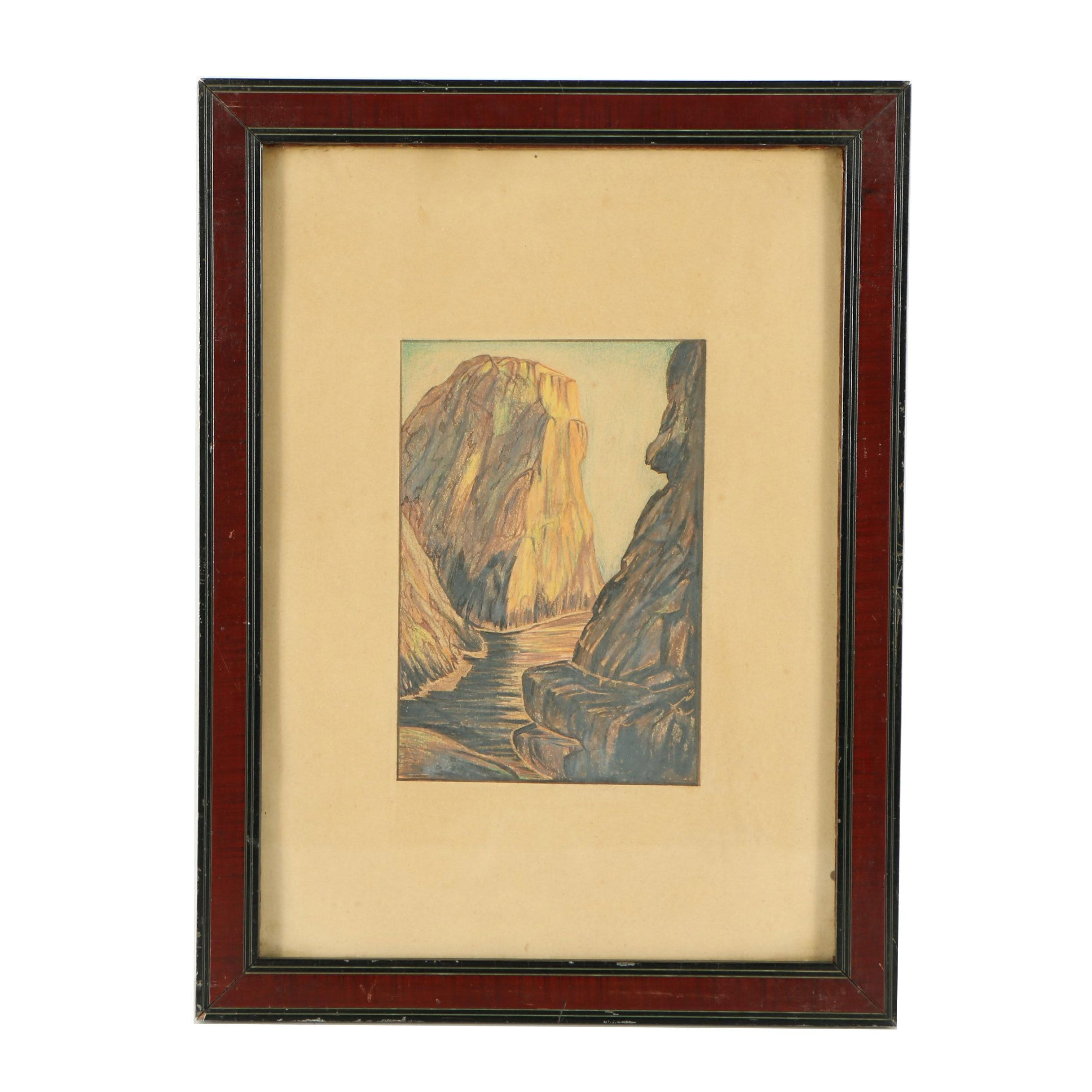Pastel Drawing of Canyon