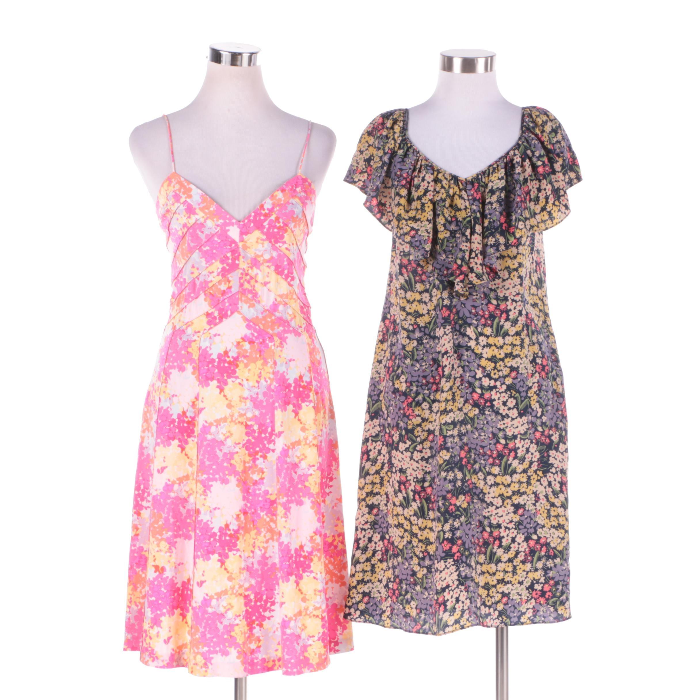 Rebecca Taylor and Diane von Furstenberg Silk Floral Print Dresses
