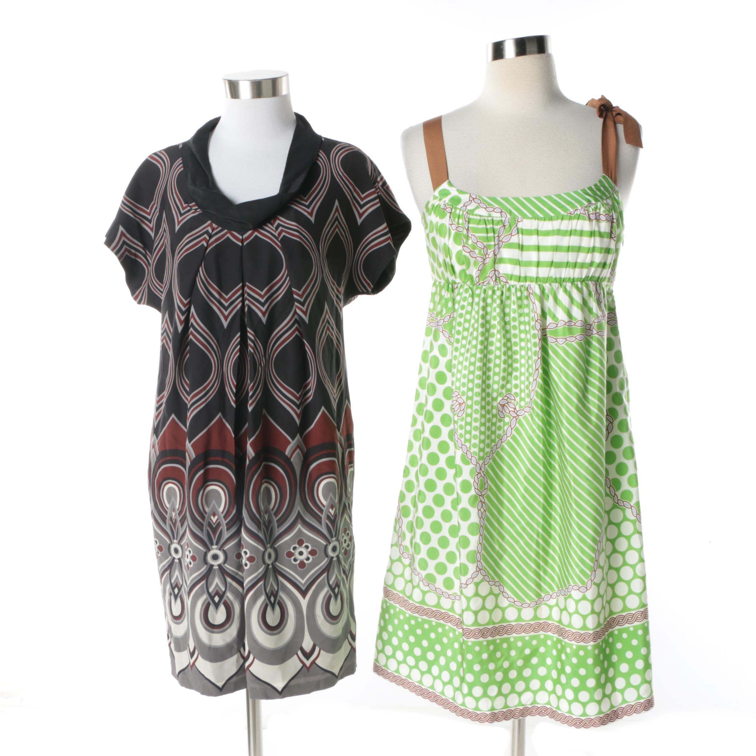 Tibi New York Black and Green Print Silk Blend Dresses