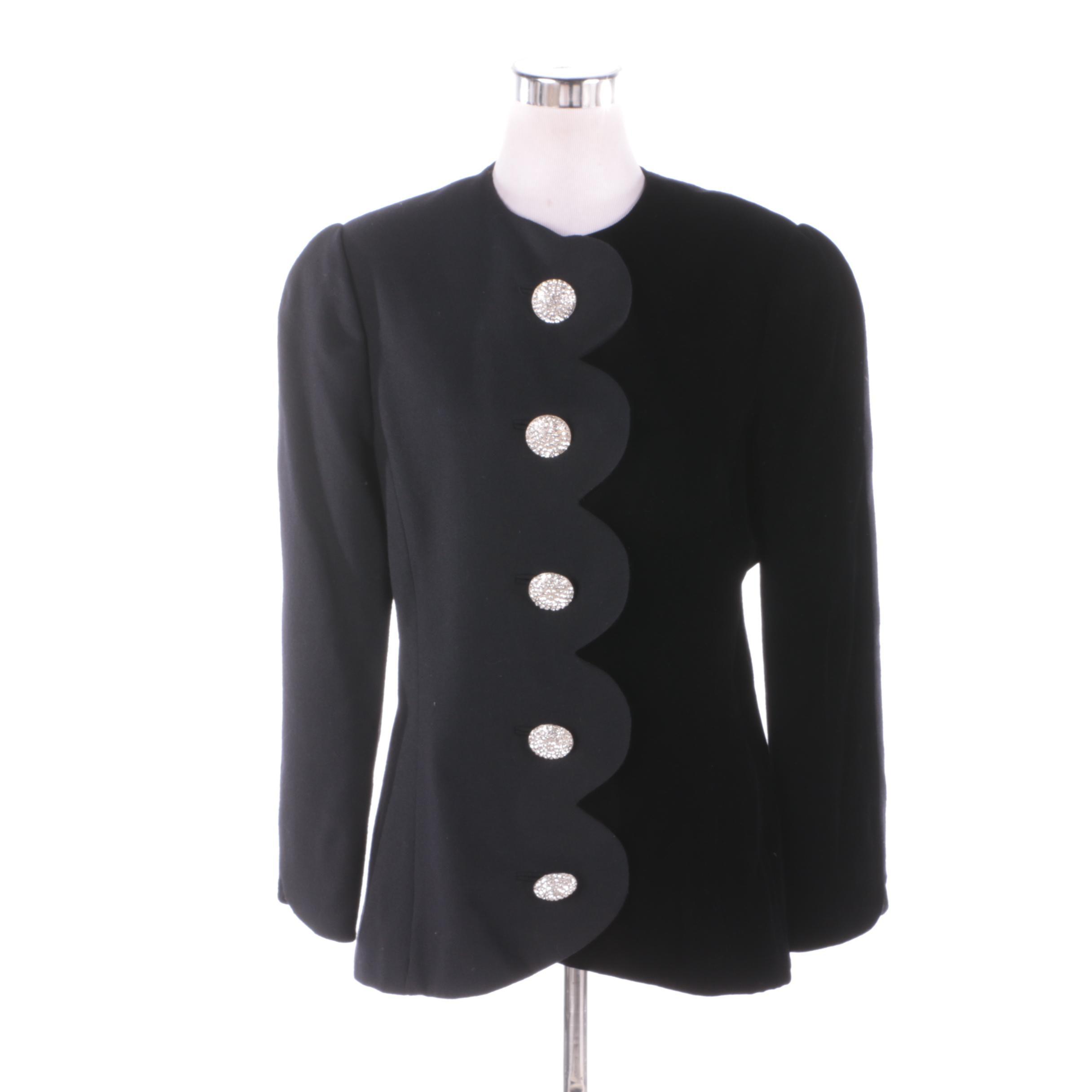 Women's Vintage Adele Simpson Black Wool Blend Jacket