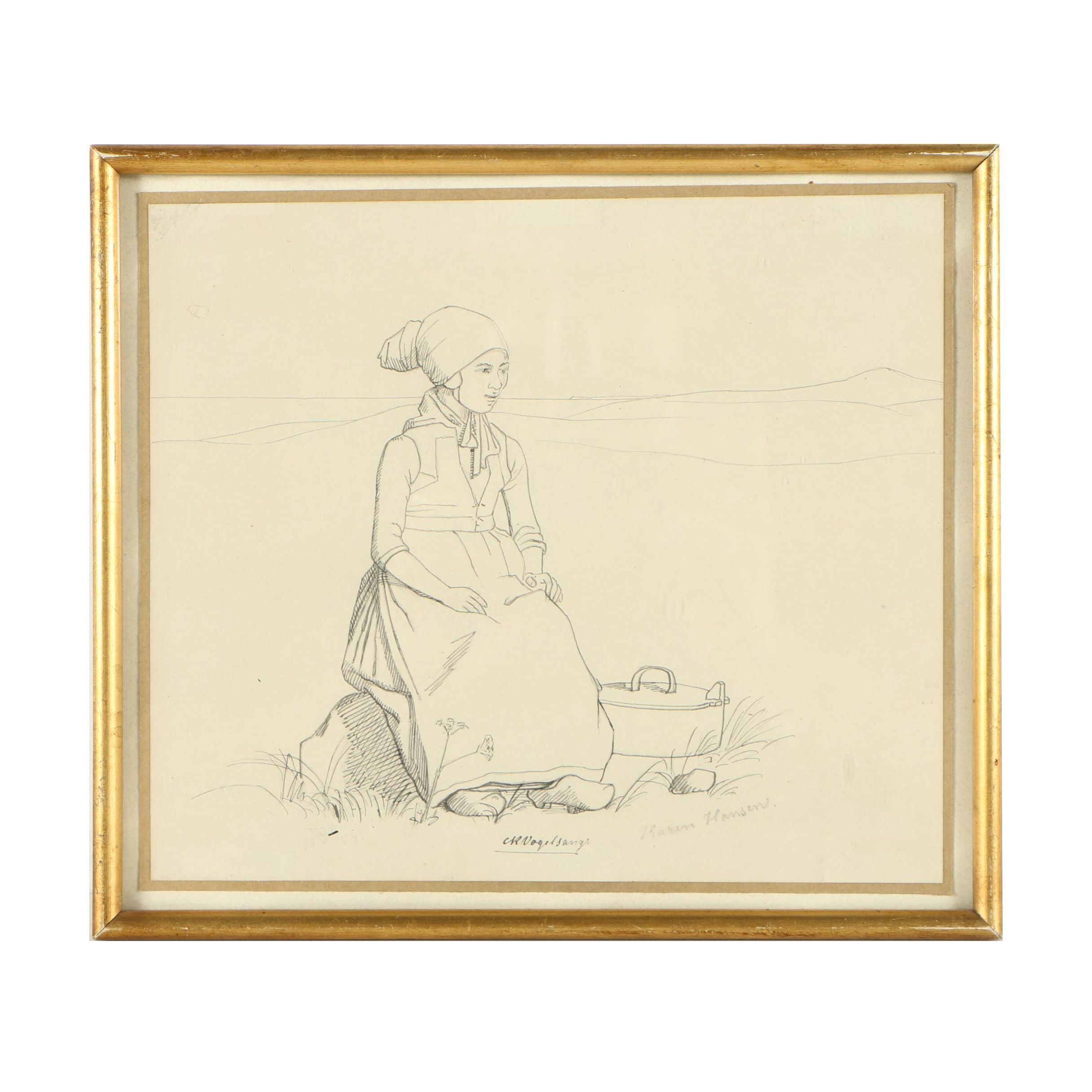 "Christian Rudolf Vogelsang Ink Drawing ""Karen Hansen"""