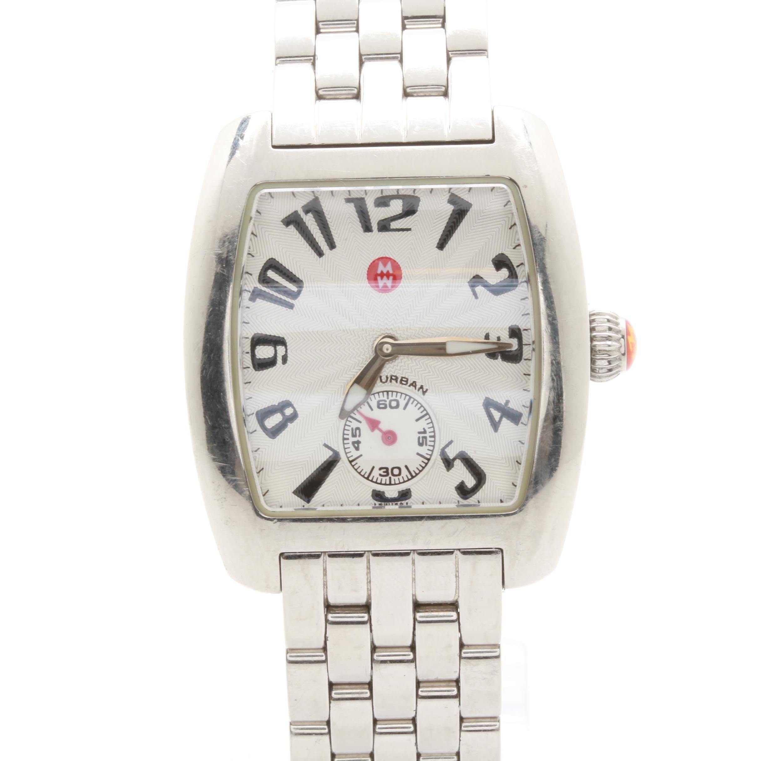Michele Stainless Steel White Dial Wristwatch