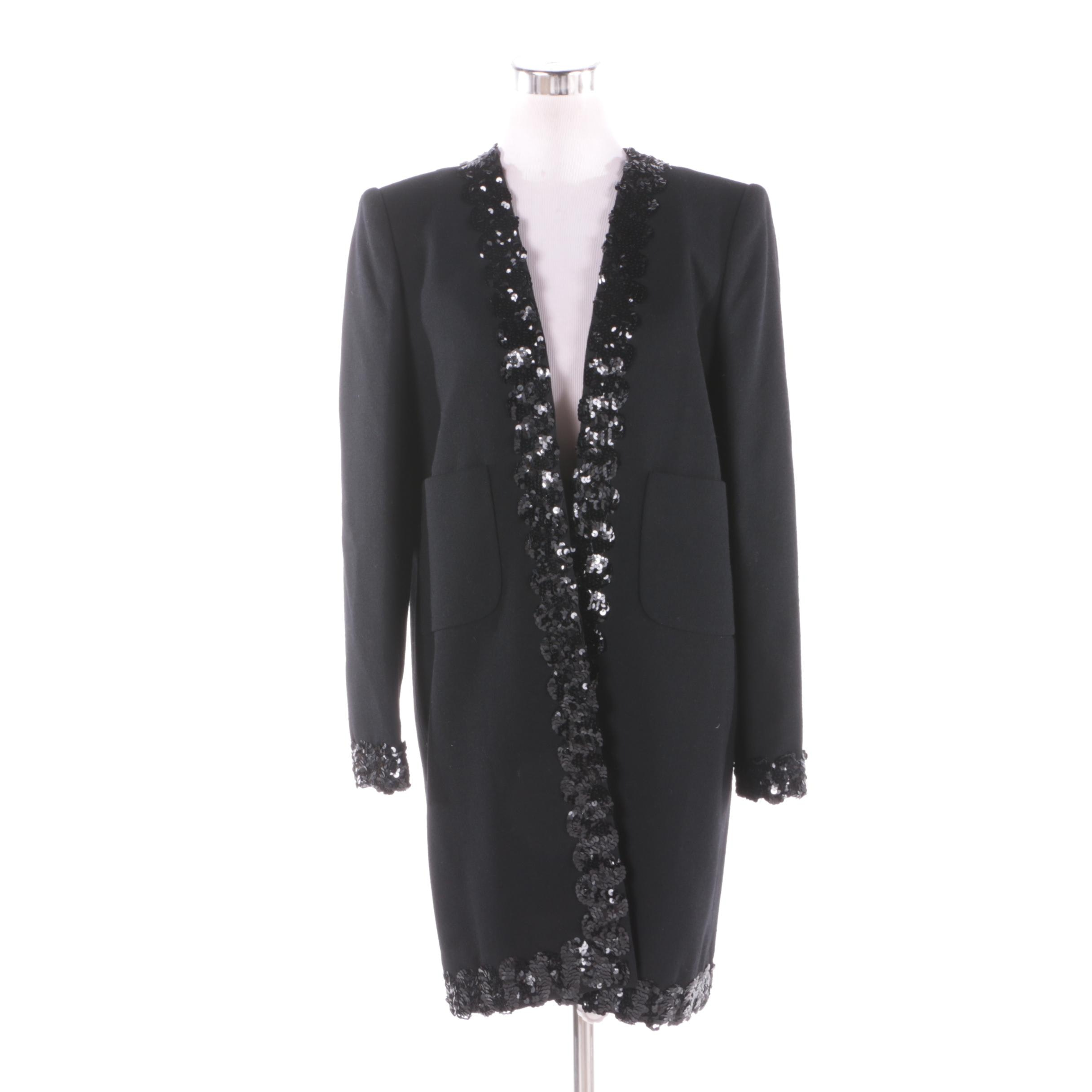 Women's Vintage David Hayes Black Wool Knit Jacket with Sequined Trim