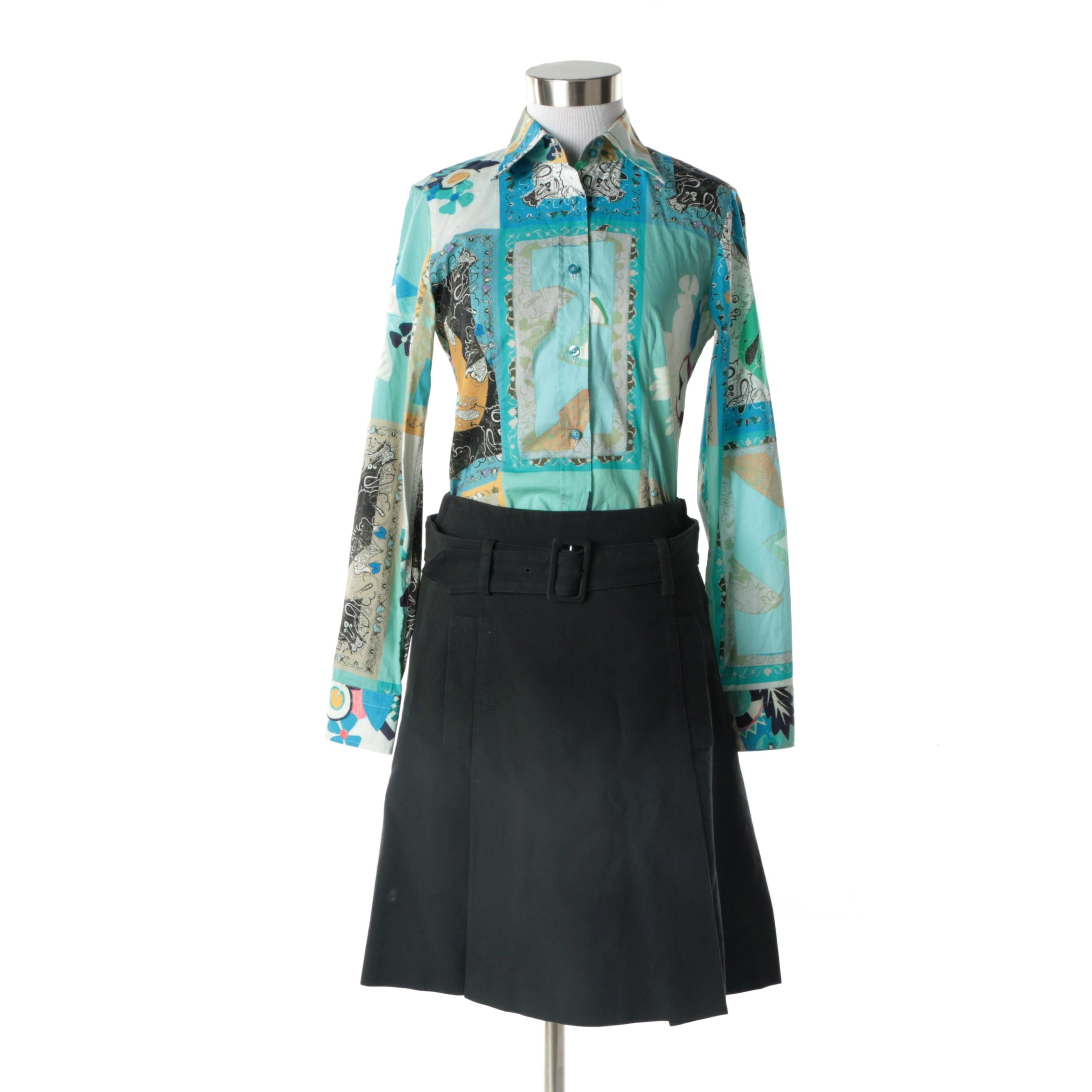 Etro Multicolor Print Blouse and Miu Miu Black Skirt, Made in Italy
