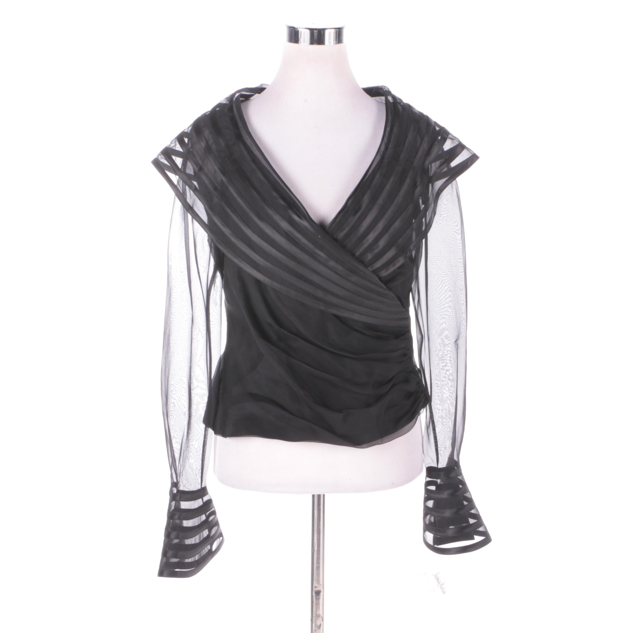 Tadashi Black Silk Sheer Sleeve Evening Wear Blouse