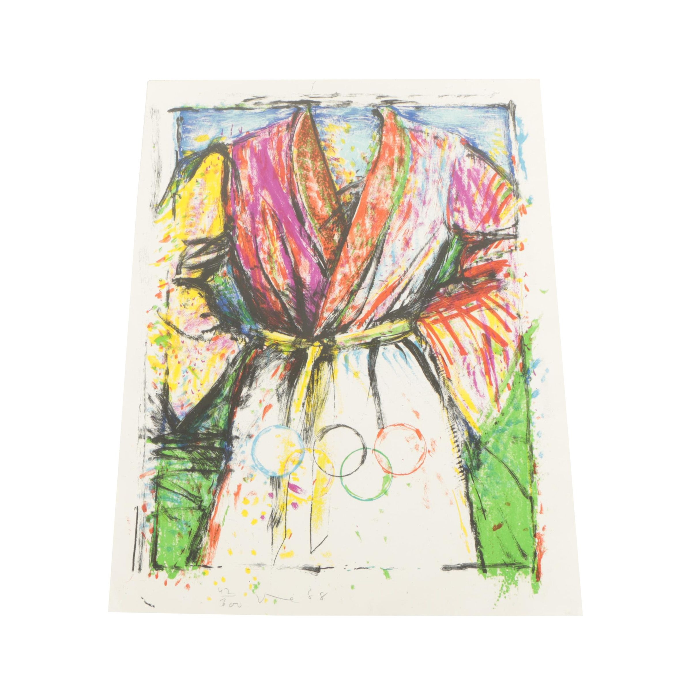 """Jim Dine Color Lithograph """"Olympic Robe"""""""