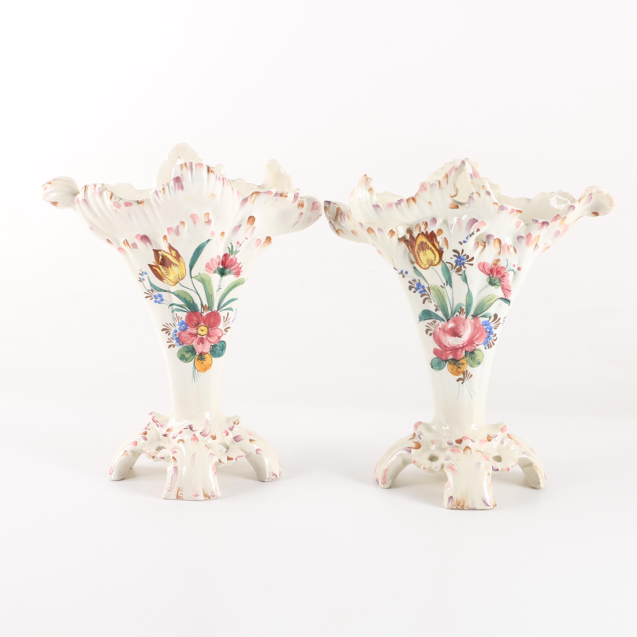 Italian Hand-Painted Reticulated Ceramic Vases