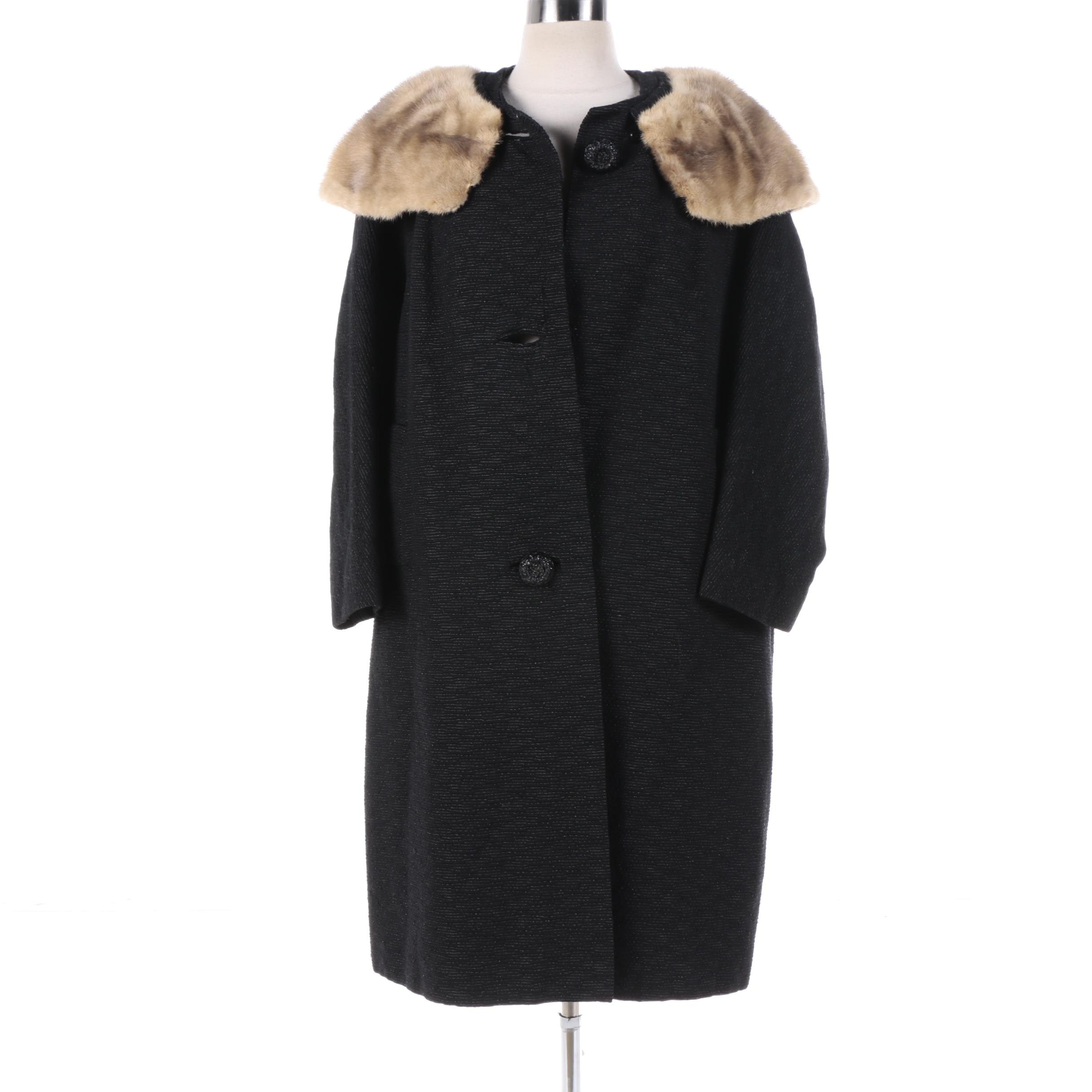 Women's Vintage Textured Black Hand-Tailored Coat with Mink Fur Cape Collar