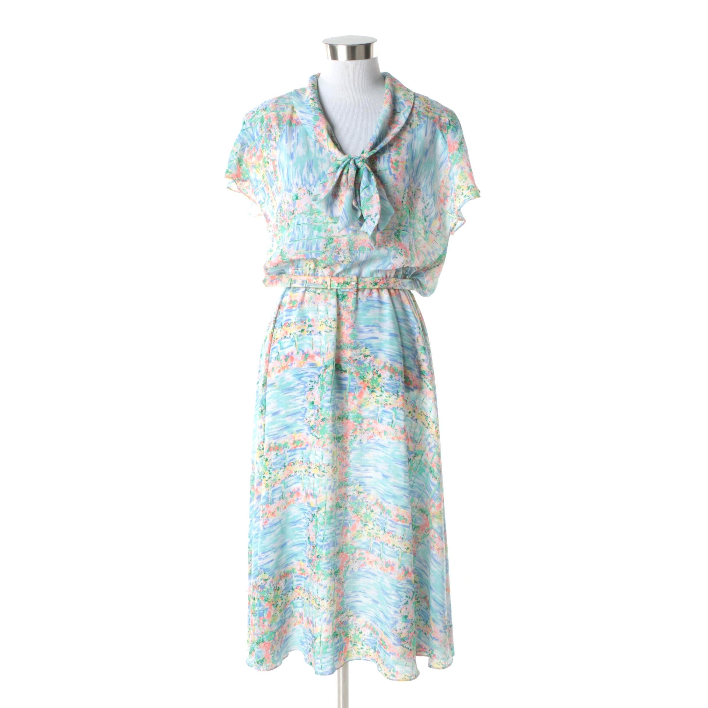 1980s Vintage Diane von Furstenberg Floral Print Dress with Matching Belt